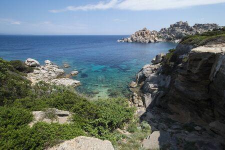 Amazing seascape of a turquoise sea in Italy. Beautiful wild beach of the Emerald coast in Sardinia.
