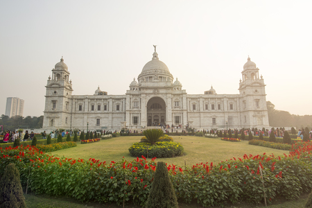 KOLKATA - INDIA - 28 January 2018. The landmark Victoria Memorial is a large marble building in Kolkata, West Bengal, India. It is dedicated to the memory of Queen Victoria. Editorial
