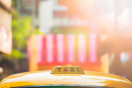 Close up view of the roof of an old yellow taxi in Kolkata, India. Stock Photo