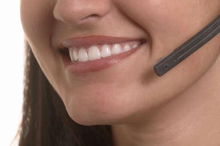 hotline: Beautiful hotline operator with headset