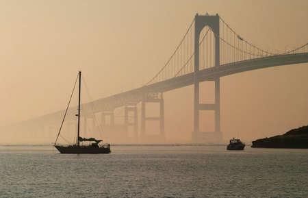 Ocean view of Jamestown Verazzano Bridge in Rhode Island.