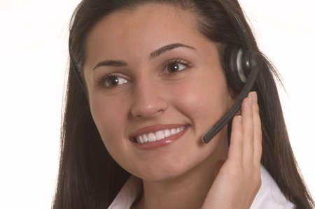 Beautiful Customer Representative with headset photo