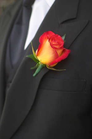 hankie: Closeup of orange and yellow boutonniere on groom. Stock Photo