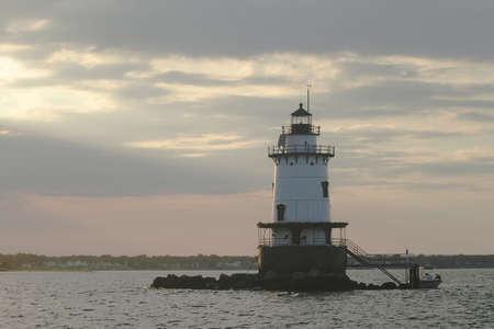 Lighthouse in Rhode Island Stok Fotoğraf