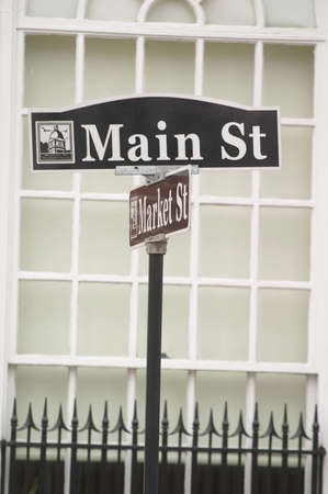 warren: Main St street sign in small town in America Stock Photo