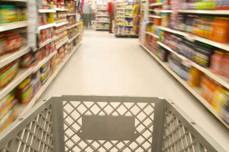 Shopping cart moving through market