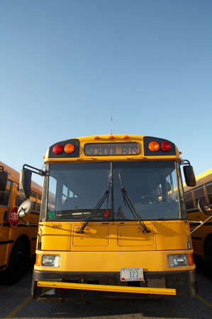 flashers: Yellow school bus with room for text Stock Photo