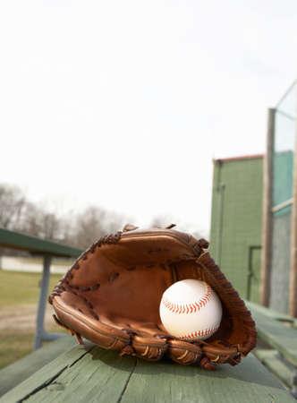 ballpark: B�isbol en guante en bleacher se sit�a en el ballpark