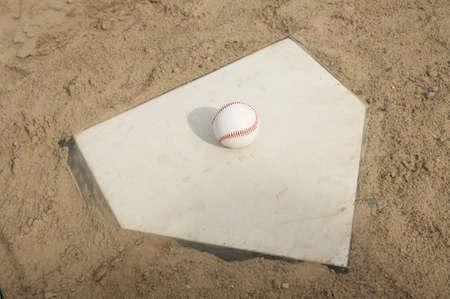 ballpark: B�isbol en el plato de home de ballpark campo