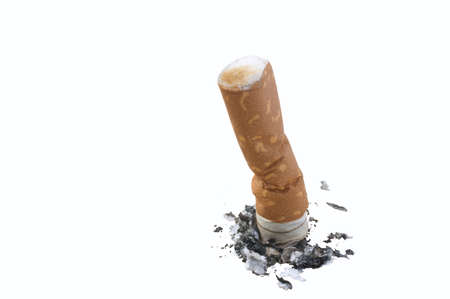 quiting: Closeup of end of cigarette butt isolated on white Stock Photo