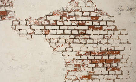 Old white and red brick wall background photo