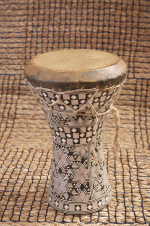 Silver pearl inlaid Egyptian dumbek hand drum photo