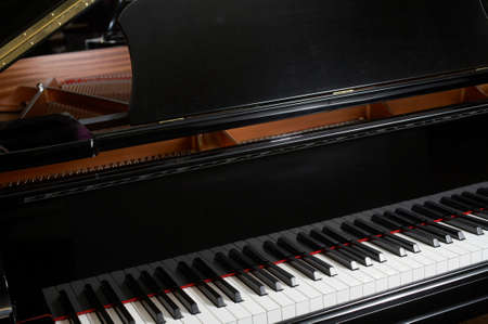 Closeup of ebony grand piano music keys