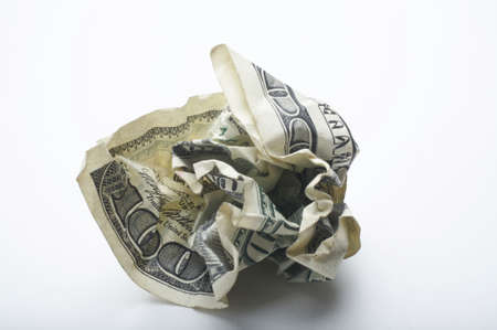 Crumpled up USA one hundred dollar bill photo