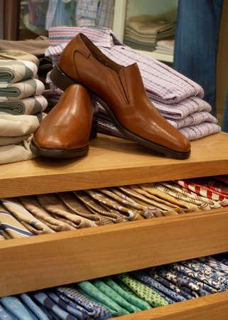 merchandising: Display of shoes and neckties