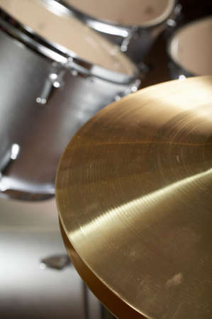 bass drum: Drum set DOF focus on hi-hat cymbal