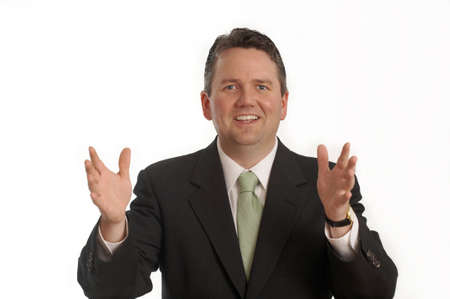businessman gesture with hands smiling photo