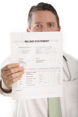 statements: doctor showing medical billing statement Stock Photo