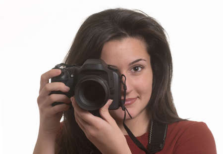 Young beautiful smiling woman holding a photo camera Stock Photo - 3120200