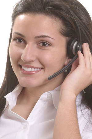 Attractive woman customer service representative smiling with headset Stock Photo - 3172720