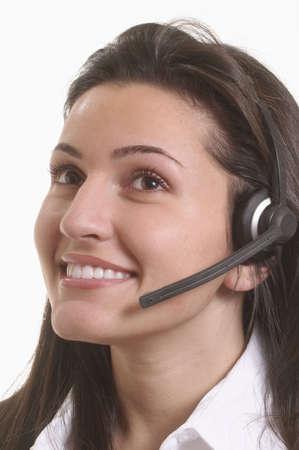 Beautiful woman customer service representative smiling with headset Stock Photo - 3172721