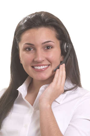 Friendly woman customer service representative smiling with headset Stock Photo - 3172714