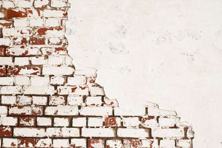 Background of old red and white brick wall photo