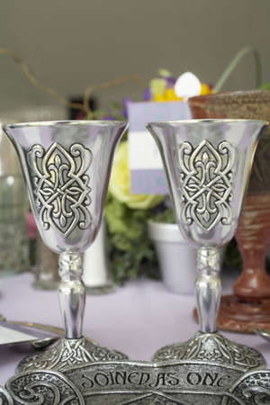 Silver Celtic wedding cup joined as one