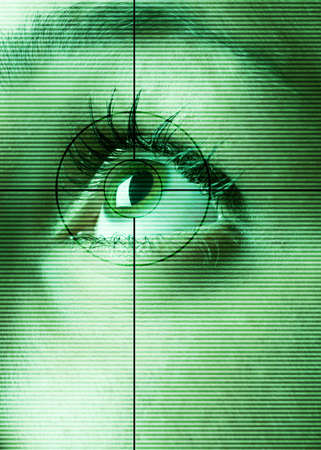 High-tech technology background with targeted eye scan photo