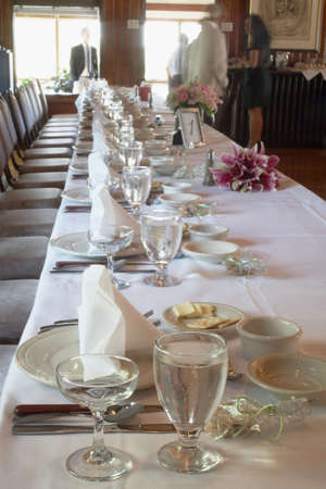 Formal table setting at a wedding reception