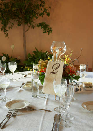 Table set for a formal event party or wedding reception photo