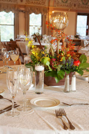 Fancy table setting at an event party or wedding reception photo