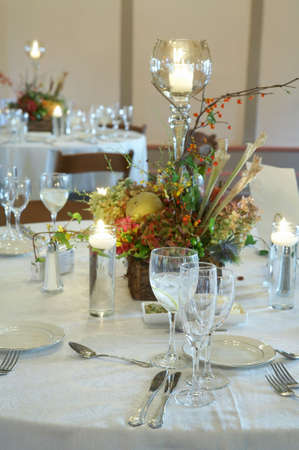 Formal table setting at an event party or wedding reception photo