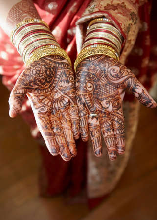 Henna On Hands Of Wedding Bride From India