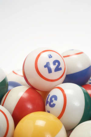 Bingo balls pile closeup with copy space