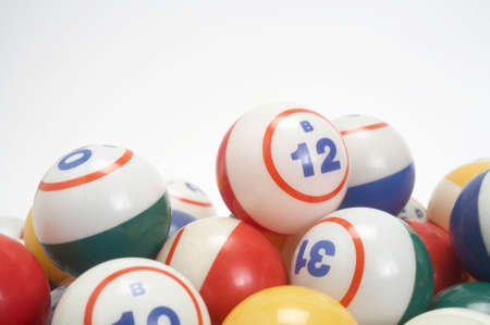 Pile of colored bingo balls with copy space