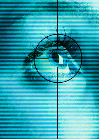 High-tech technology background with targeted iris eye scan