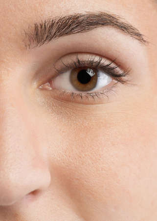 Closeup eye of beautiful young woman face Stock Photo