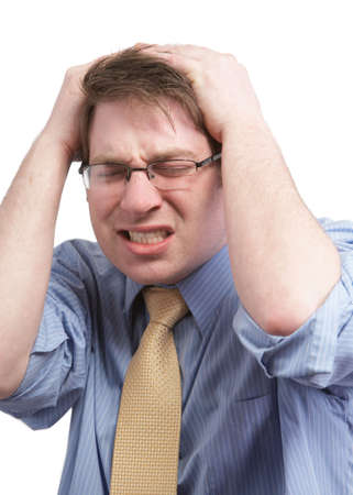 Stressed young businessman with headache on white Stock Photo - 4487889