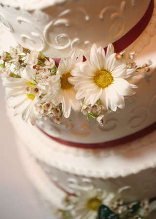 topper: Closeup detail of wedding cake at reception Stock Photo