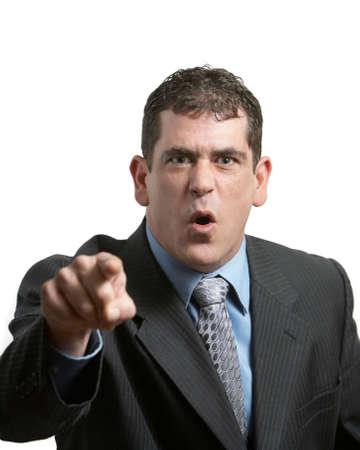 man scolding: Upset businessman yelling on white background focus on face
