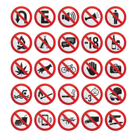 Collection of 25 prohibited signs, for signs of industries, businesses, exteriors and other spaces. Editable vectors. Illusztráció