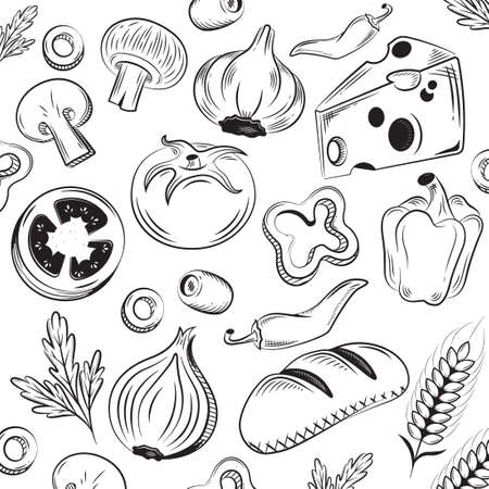 Food silhouettes collection. Hand drawn vector illustration. Cheese, bell pepper, chili, olive, tomato, mushrooms, bread, garlic, onion, parsley, wheat.