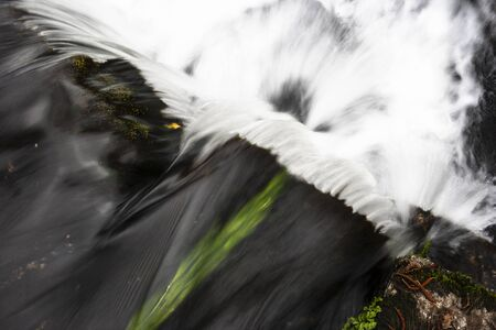 Waterfall with rocks and plants