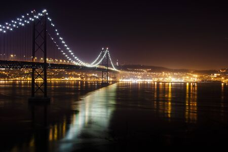 Night picture of bridge and river with lights and reflections