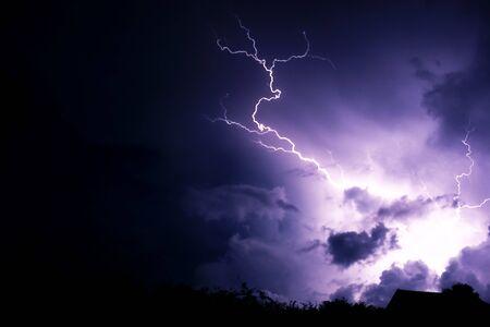 Lightning strike with clouds Stockfoto