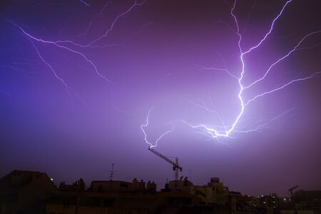 Lightning strike on a crane