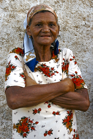 Old woman with scarf on her head