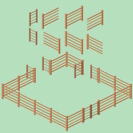 Isometric 2:1 rail fence building kit. Vector illustration.