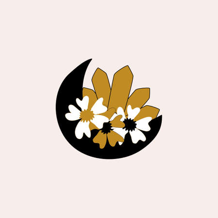 Moon, flowers and diamonds, vector element